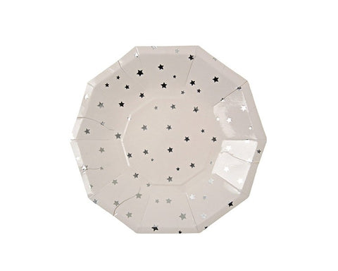 Paper Plates - Foil Silver Stars Small Paper Plates, 8 Pcs