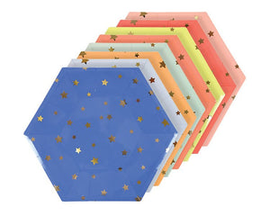 Paper Plates - Jazzy Star Hexagon Paper Plates