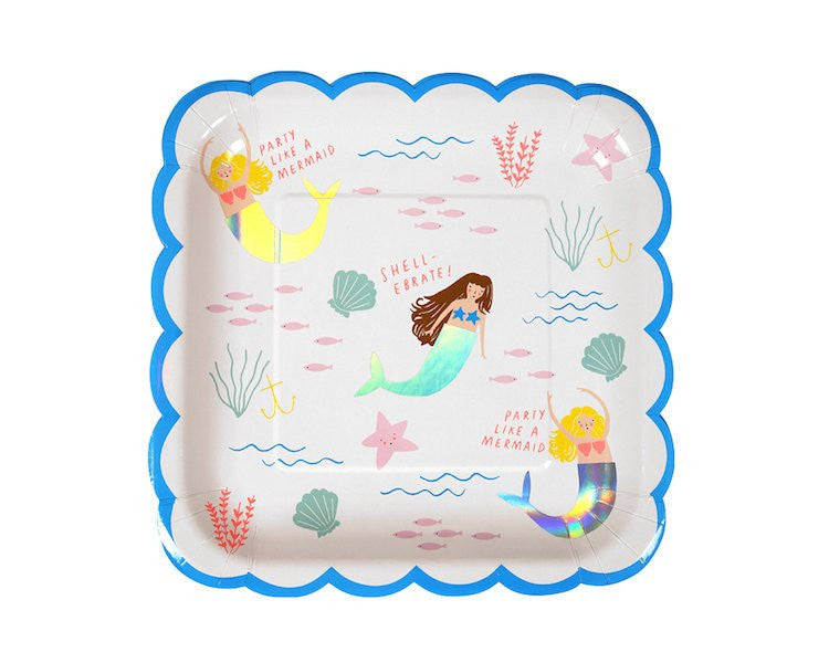 Paper Plates - Let's Be Mermaids Large Paper Plates