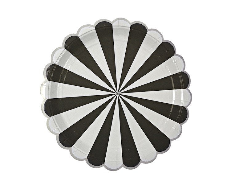 Paper Plates - Toot Sweet Black Striped Large Paper Plates, 8 Pcs