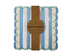 Paper Plates - Toot Sweet Blue Stripe Large Paper Plates, 12 Pcs