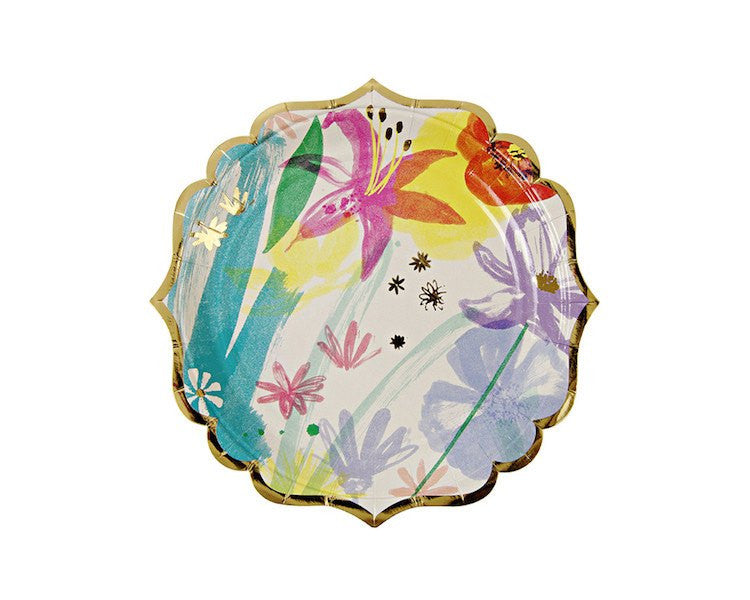 Paper Plates - Toot Sweet Painted Flowers Small Paper Plates