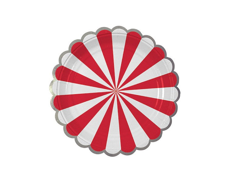 Paper Plates - Toot Sweet Red Striped Small Paper Plates