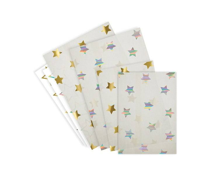 Paper Treat Bags - Foil Gold And Silver Stars Glassine Treat Bags, 24 Pcs