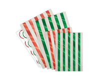 Paper Treat Bags - Foil Striped Red And Green Glassine Treat Bags, 24 Pcs