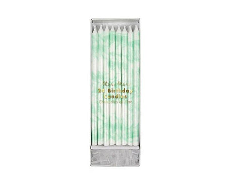 Toppers & Picks - Mint Marble Candles