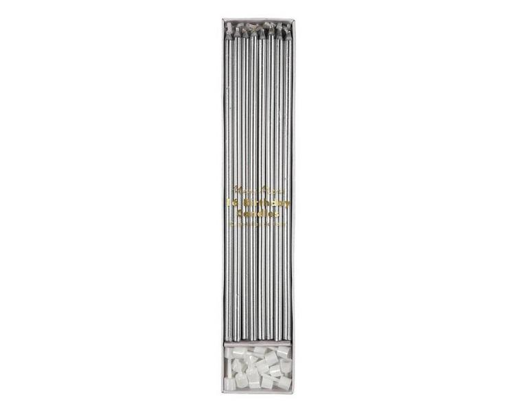 Toppers & Picks - Silver Long Candles