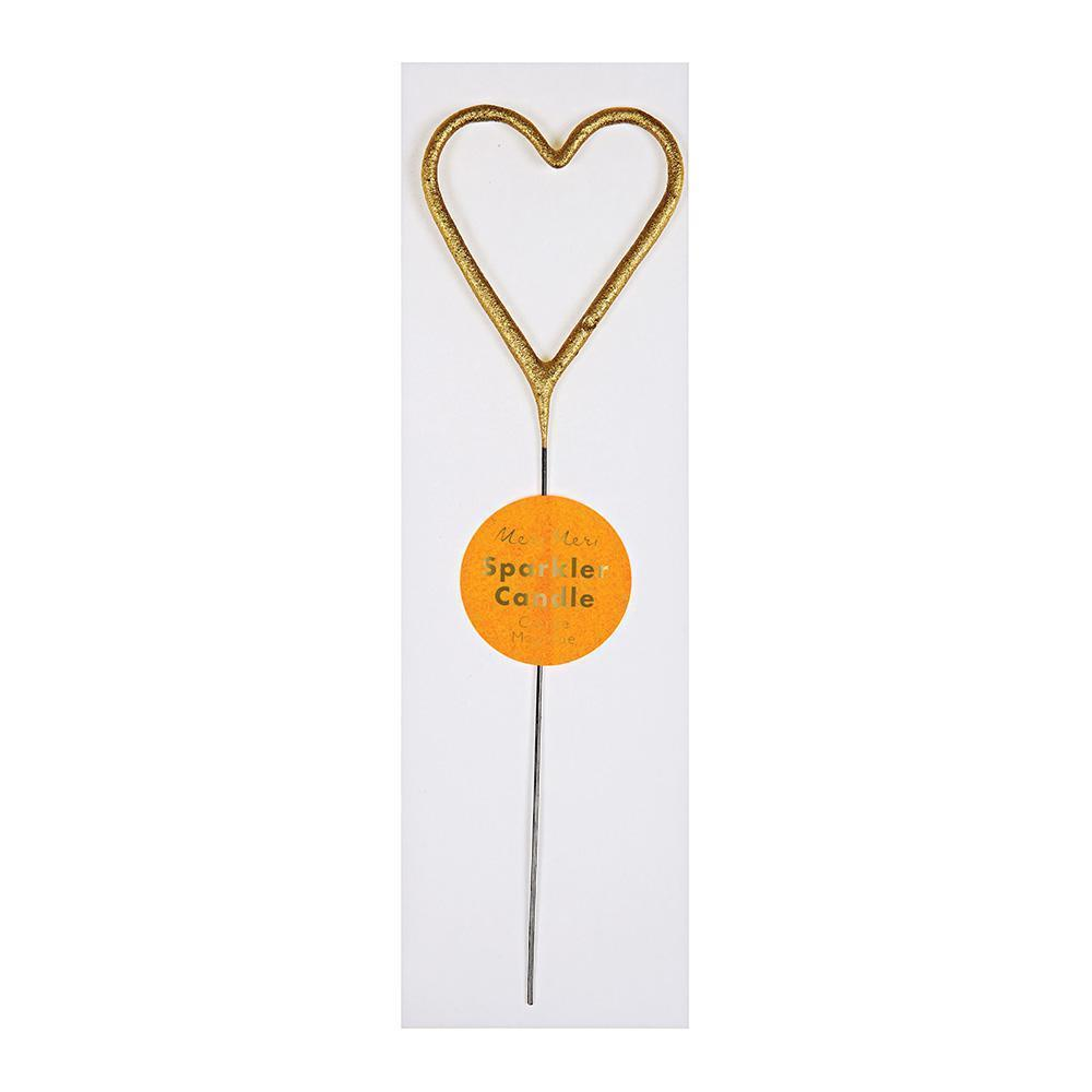 Toppers & Picks - Sparkler Heart Gold Mini Candle