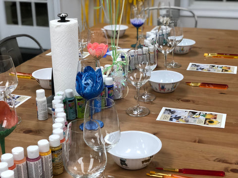 Wine Glass Painting Parties - PAINT YOUR OWN WINE GLASS PARTY DEPOSIT