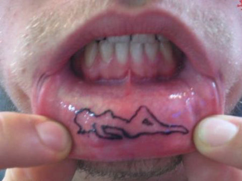 adorable inner lip tattoo