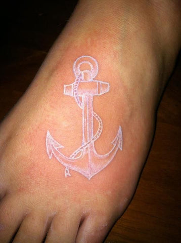 anchor white ink tattoo