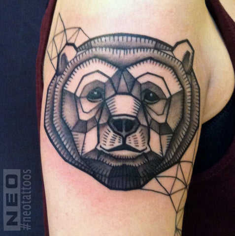 bear geometric animal tattoo design