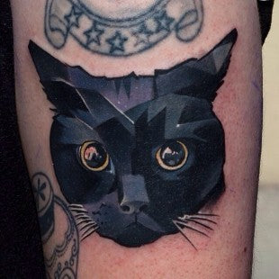 cat geometric animal tattoo design