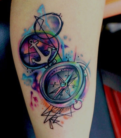 compass watercolor tattoo