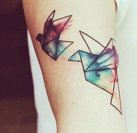 crane watercolor tattoo