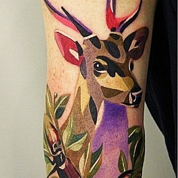 deer geometric animal tattoo design