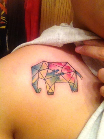 elephant geometric animal tattoo design