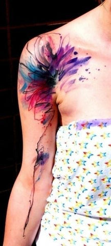 flower watercolor tattoo on shoulder