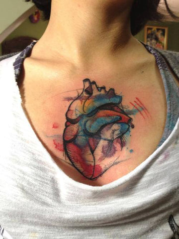 heart watercolor tattoo