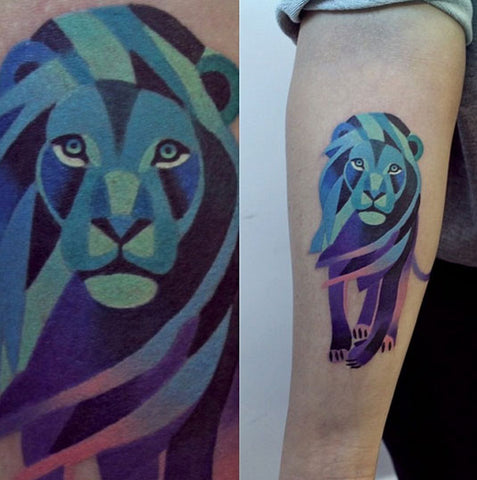 lion geometric animal tattoo design