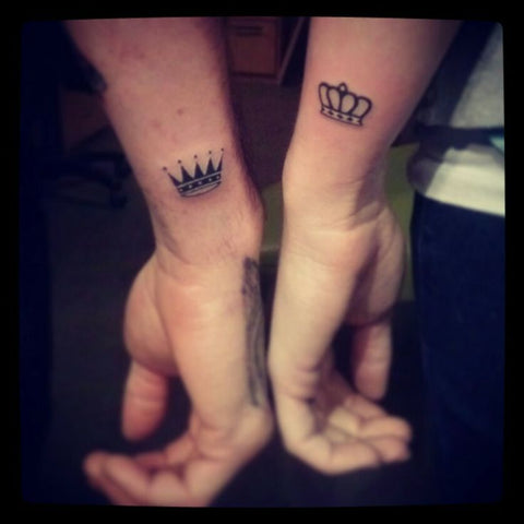 Couple tattoos King & Queen crowns