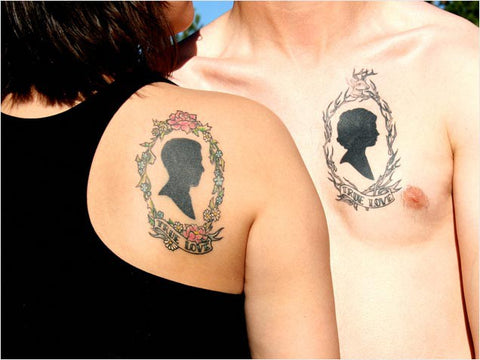 Couple tattoos heads