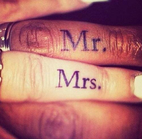 Couple tattoos Mr. & Mrs.