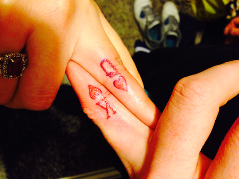 Couple tattoos King & Queen cards