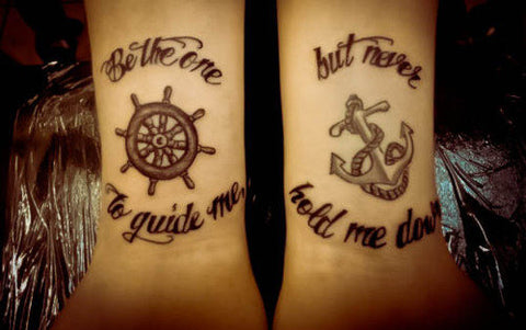 Tatouages pour couple Be the one to guide me - But never hold me down