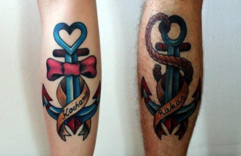 Matching couple tattoo anchor color