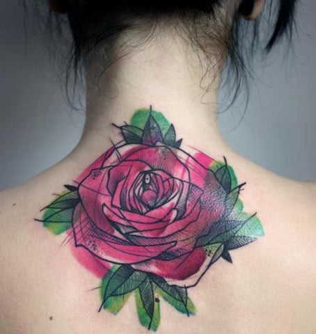 rose flower watercolor tattoo