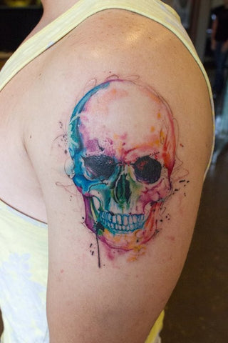 skull watercolor tattoo