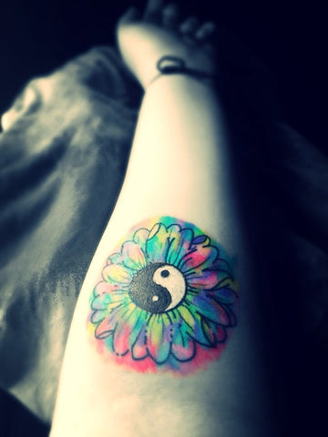 yingyang watercolor tattoo