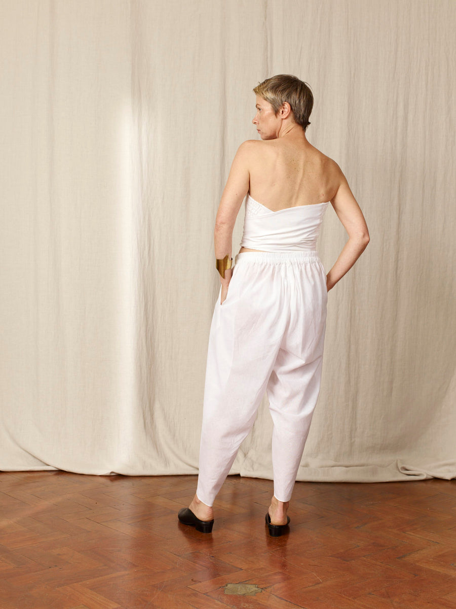 Maga White Cotton Pant