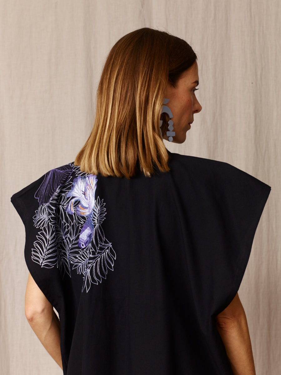 Bibi Embroidered Black Cotton Kimono Dress