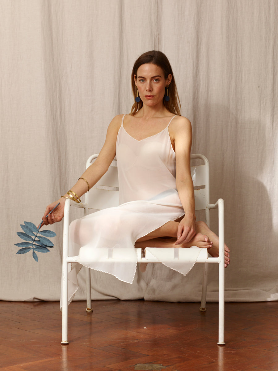 Halima White Silk Chiffon Slip Dress