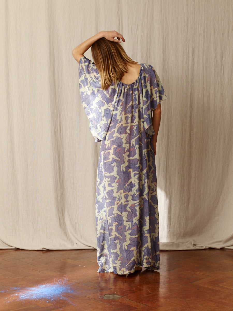 Dina Printed Silk Dress