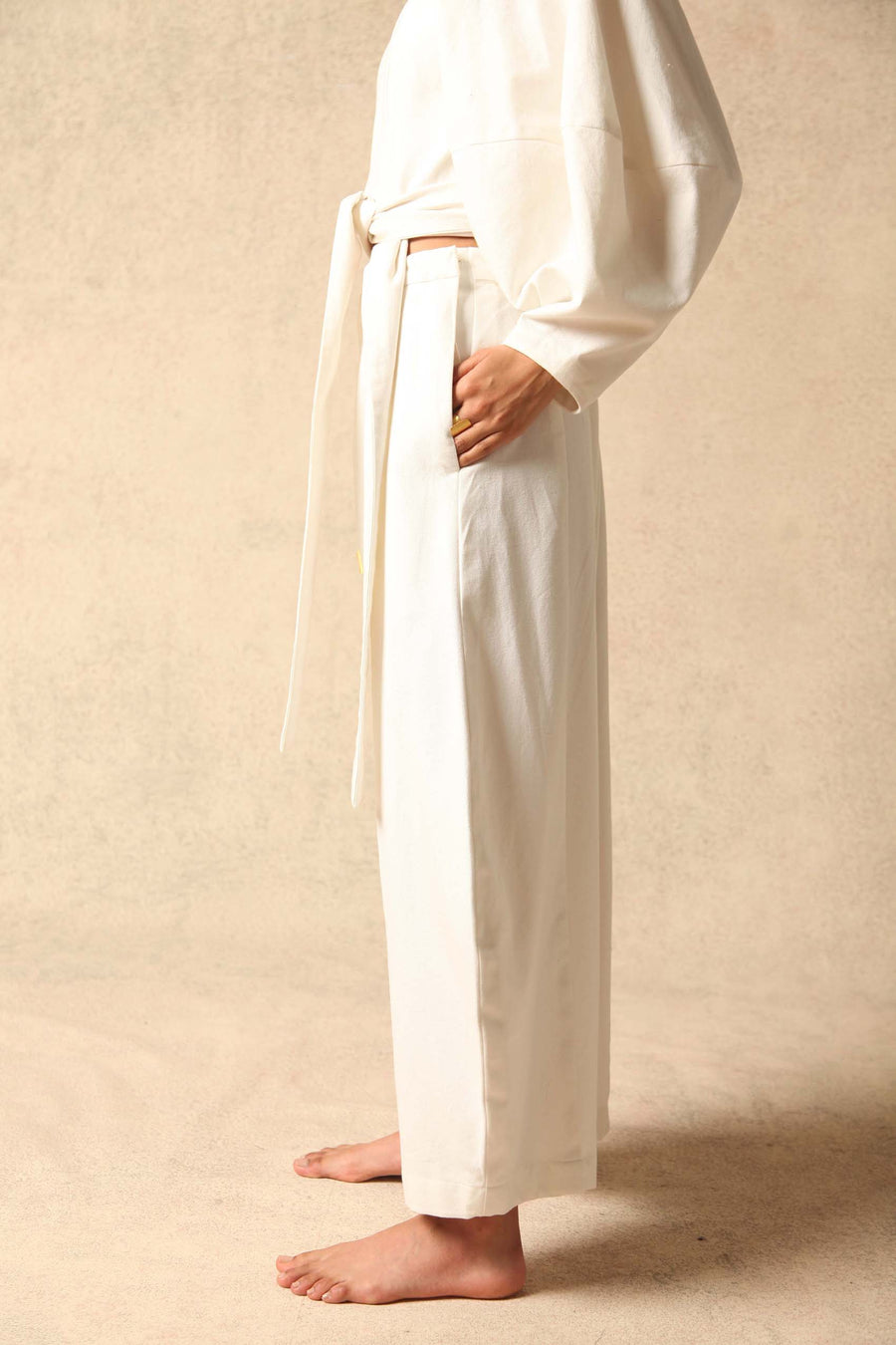Riss White Cotton Pant- Made to Order