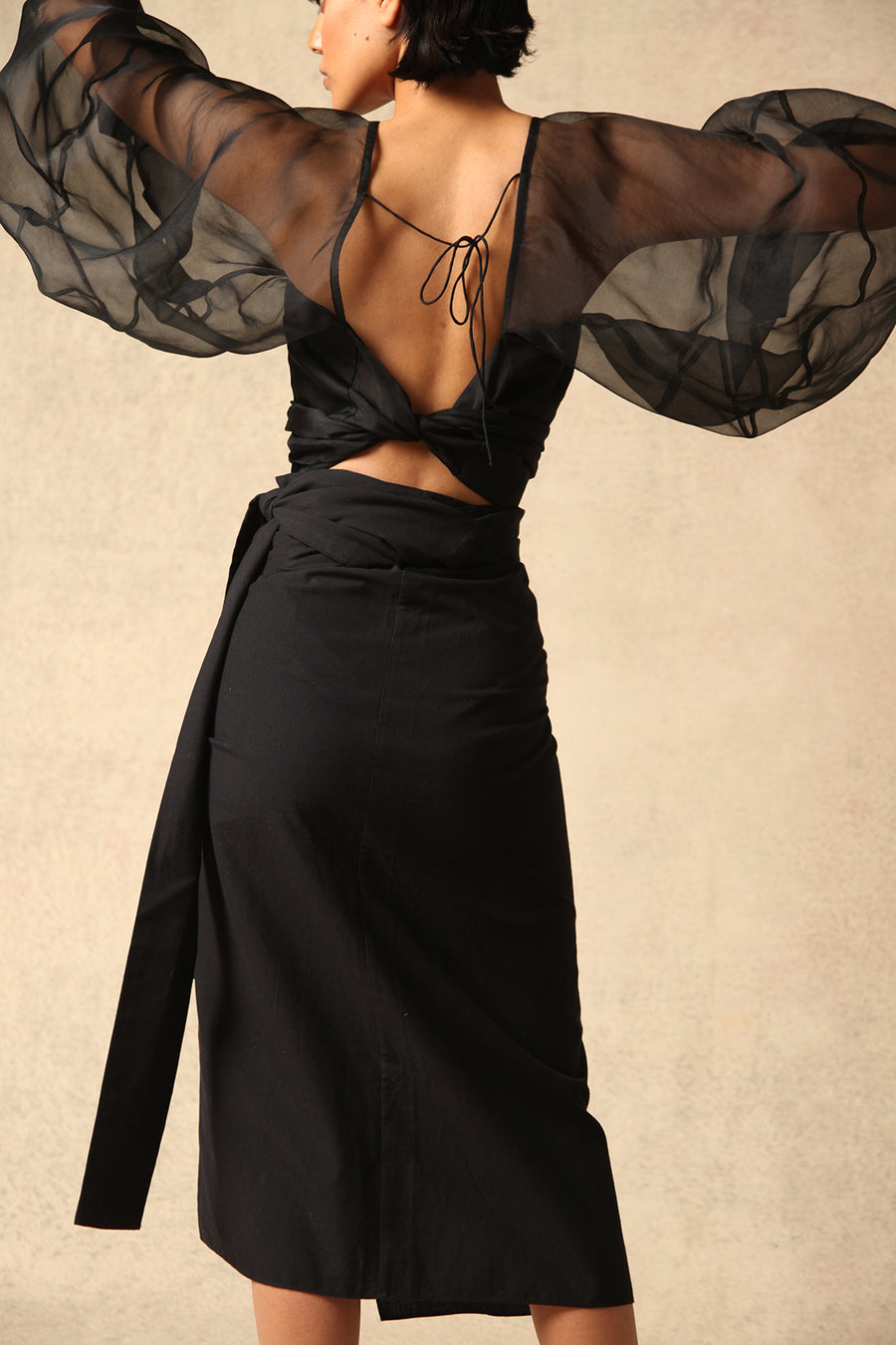 Safia Black Cotton Wrap Skirt