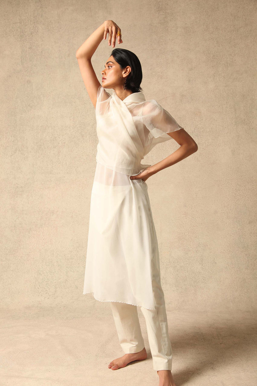 Farah White Silk Organza Wrap Top