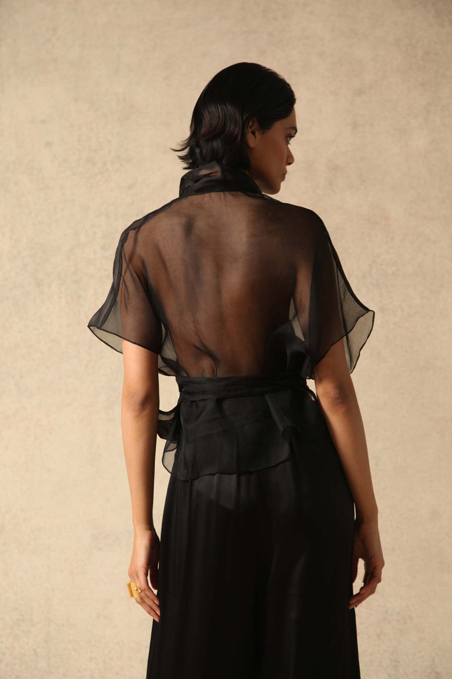 Farah Black Silk Organza Wrap Top I Made to Order