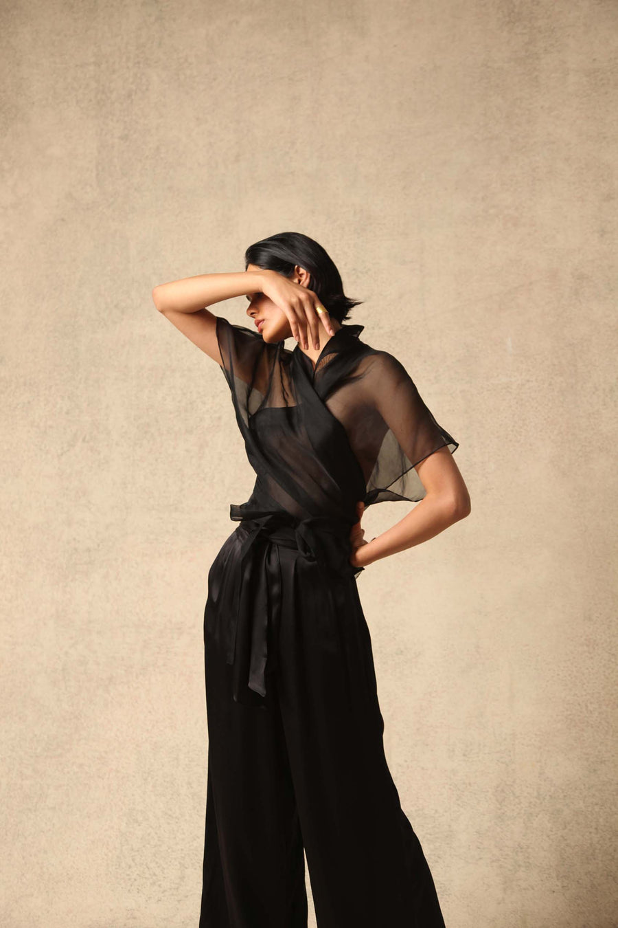 Farah Black Silk Organza Wrap Top