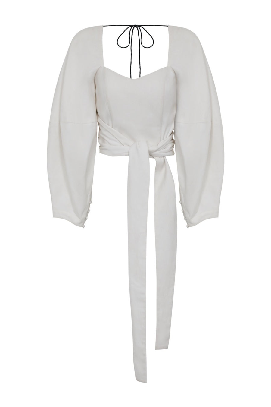 Zof White Cotton Wrap Top- Made to Order