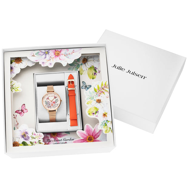Julie Julsen Damen Quarz Armbanduhr Geschenkset Secret Garden Peach Limited Edition - JJW1199RGM