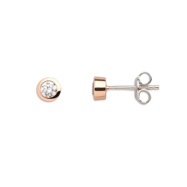 Xenox Damen Silber Sterling 925 Ohrstecker in Rosegold mit Zirkonia - Silver Circle XS7122R