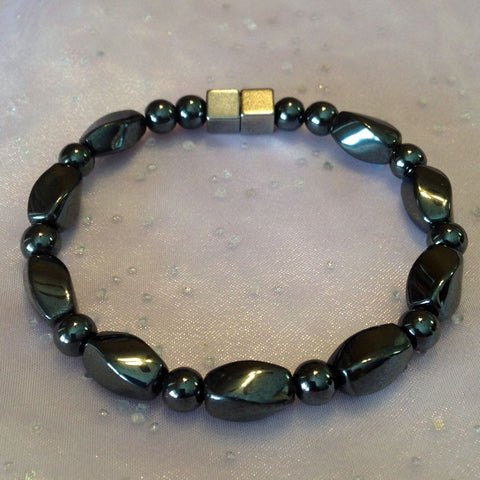 A302  Magnetic Black Bead with Black Twists Anklet