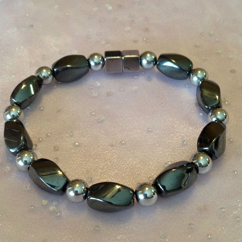 A303  Magnetic Silver Bead With Black Twist Anklet