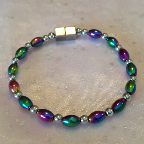 A339  Magnetic Silver Beads with Multicolor Rice Anklet.