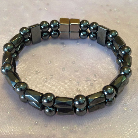 D201  Magnetic Black Bead with Black Barrel Double Strand Bracelet