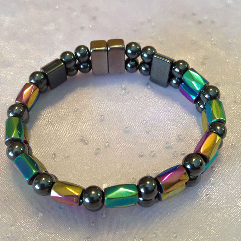 D204  Magnetic Black Bead and Multicolor Barrel Double Strand Bracelet